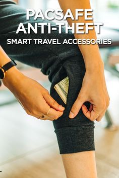 When Style Meets Security with PacSafe's Anti-theft Travel Pants and Bags Travel Pockets Travel Items, Travel Gadgets, Travel Products, Travel Pants, Travel Backpack, Travel Purse, Travel Organization, Sport Wear, Travel Accessories