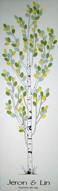 Personalized Wedding Tree Thumbprint tree Guest Book Aspen, size for up to 150 guests Wedding Humor, Chic Wedding, Fall Wedding, Wedding Ideas, Tree Wedding, Wedding Guest Book, Wedding Gifts, Wedding Bells, Thumbprint Tree