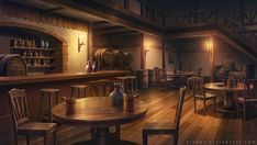Tavern by giaonp Check out Tabletop Gaming Resources for more art, tips and tools for your game! Fantasy City, Fantasy Places, Taverna Medieval, Anime Places, Episode Backgrounds, Fantasy Background, Images Harry Potter, Fantasy Setting, Interior Concept