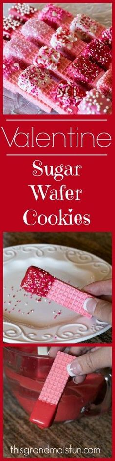 This recipe is a super quick way to make regular sugar wafers into a special Valentine's Day treat! This recipe is a super quick way to make regular sugar wafers into a special Valentine's Day treat! Cute Valentine Ideas, Valentines Day Desserts, Valentine Cookies, Valentine Day Crafts, Kids Valentines, Funny Valentine, Best Dessert Recipes, Fun Desserts, Wafer Cookies