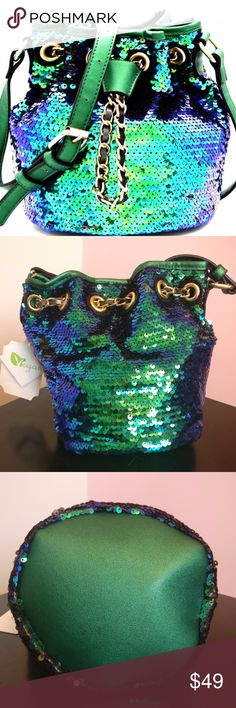 Mermaid Sequin Vegan Leather Bucket Bag The Sequintessential Bucket Bag, because you deserve to sparkle! A CLE Threads original item!   Sequin Embellished Drawstring Bucket Bag  Faux (Vegan) Leather Mermaid [blue & green] Sequins! Drawstring Top Closure with Magnetic Button Adjustable Shoulder Strap Approximate Dimensions: 9(L) X 8.5(H) X 7(W) Brand new with tags CLE Threads Bags Crossbody Bags