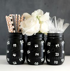 DIY Painted Spooky Eyes Mason Jars for Halloween from It All Started With Paint
