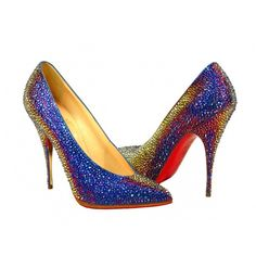 bbc740ff430 Christian Louboutin Rainbow Blue High-Heel Crystal Shoes found on Polyvore  Christian Louboutin Red Bottoms