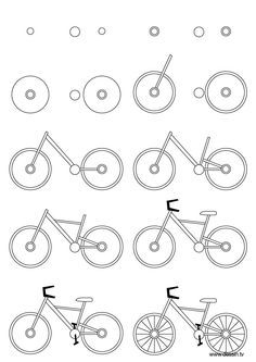 Drawing bicycle: Learn how to draw a bicycle with simple step by step instructions. The Drawbot also has plenty of drawing and coloring pages! Drawing Lessons, Drawing Techniques, Art Lessons, Doodle Drawings, Doodle Art, Easy Drawings, Abstract Pencil Drawings, Bicycle Drawing, Bicycle Art