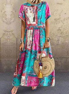 Women Casual Boho Floral Loose Kaftan Maxi Dress Long Sleeve Long Dress 2019 Plus size Dress Maxi Dress With Sleeves, Short Sleeve Dresses, Sleeveless Dresses, Maxi Dresses, Long Sleeve, Short Sleeves, Casual Dresses, Summer Dresses, Maxi Robes