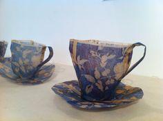 megan herring. hand held gallery. tea cups made from tea paper bags.