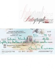 Charles Bronson Autograph Cheque dated 9/11/1979  https://autographsale.net/charles-bronson-autographed-cheque.html