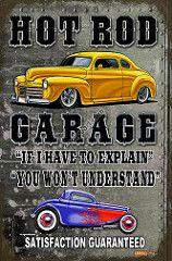vintage harley pin up Carros Retro, Carros Vintage, Vintage Signs For Sale, Vintage Metal Signs, Garage Signs, Garage Art, Classic Hot Rod, Classic Cars, F1 Posters