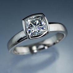 6mm cushion cut moissanite bezel set engagement ring
