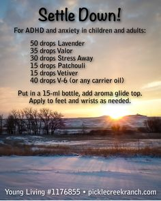 "For ADHD and Anxiety in children and adults. This may help you! ""Young Living supplements are designed to improve nutrition; they are not intended to diagnose, treat, cure, or prevent any disease. However, scientific research has established a connection between nutrition and many disease conditions."" Contact me @ Pickle Creek Ranch if you have questions. Young Living #1176855"