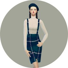 Suspender H-line skirt one-piece at Marigold via Sims 4 Updates