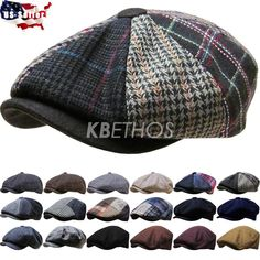 Men's Cabbie Newsboy and Ascot Plaid Ivy Button Hat Cap #KBETHOS #NewsboyCap