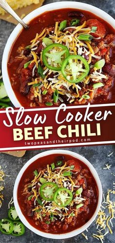 Slow cooking is the perfect way to cook chili because all of the flavors come together perfectly! This Beef Chili is the best slow cooker recipe loaded with flavor and perfect for busy weeknights! Try this easy comfort food recipe! Hearty Chili Recipe, Chili Recipes, Slow Cooker Chili, Slow Cooker Recipes, Easy Weeknight Meals, Easy Dinners, Fun Easy Recipes, Lunch Recipes, Meal Ideas