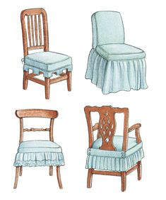 Sewing Basic Linda Lee explains how to make an easy pattern and use basic sewing skills to liven up a favorite chair. - Linda Lee explains how to make an easy pattern and use basic sewing skills to liven up a favorite chair. Dining Chair Covers, Dining Chair Slipcovers, Furniture Covers, Chair Cushions, Furniture Makeover, Slipcover Chair, Swivel Chair, Sewing Room Furniture, Diy Furniture
