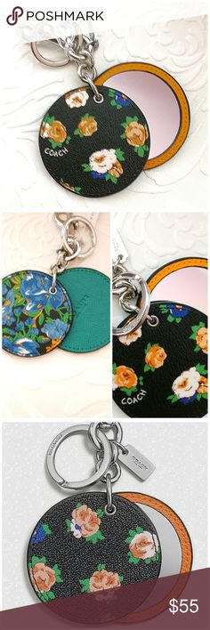 "COACH MIRROR BAG CHARM SAVVY Option for carrying that essential Everywhere you go! Do it with class and style.  This bag CHARM can also help you keep up with your keys Double-sided design option to accent your bag color.  Printed coated canvas  Interior mirror2 1/2"" (L) x 2 1/2"" (H)1 1/4"" attached split key ring and carabiner clip SILVER BLACK LEAF Coach Accessories Key & Card Holders"