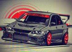 Evo 9, Mitsubishi Lancer Evolution, Drifting Cars, Car Illustration, Japan Cars, Import Cars, Car Posters, Car Drawings, Car Tuning