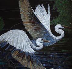 "Chris Heisiner, Beauty in Flight, Date: 2012,  Size 30"" X 30"", Stained Glass Mosaic Window"