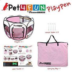 Dog Playpen - PET4FUN® 35 Portable Pet Puppy Dog Cat Animal Playpen Yard Crates Kennel w/ Pr #PicassoTiles $33.99