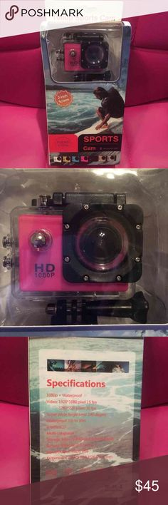 ❤️NIB PINK NON BRANDED SPORTS CAMERA PINK 1080P Sport Camera Diving 30 Meter Waterproof Camera Mini DVR Camcorder Helmet Camera.  No brand that I can see.  New in box. Never opened.  Color:  PINK Thanks! Other