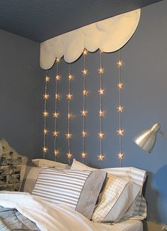 Clouds/stars lights on wall above bed