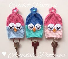 ** Pattern No 18 ** ** PDF CROCHET PATTERN ONLY, not the actual finished item.** These cute little owl keycosies are such a cute way of keeping those keys tidy in your handbag and are an ideal present for that person in your life who has everything! They use very little yarn (just 12g/.423oz) and are a great way of using up those small leftovers from other projects. I used just two colours in each cosy but you could of course use as many as you like. These little cosies measure approx ...