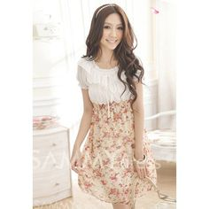$7.00 Sweet Square Neck Splicing Color Tiny Floral Print Beam Waist Chiffon Dress For Women