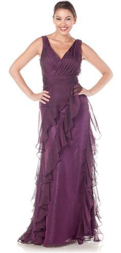 Long Plum Dress Chiffon Ruffle Layered Tank Strap V-Neckline Plum Evening Dress, Chiffon Evening Dresses, Plum Dresses, Formal Dresses, Chiffon Ruffle, Chiffon Dress, Groom Dress, Lovely Dresses, Bridesmaid Dresses