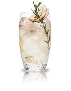 2 oz Cointreau, 1 oz Fresh Lime Juice, 3 slices Tart Apple, 7 leaves Fresh Rosemary, 3-4 oz Club Soda – Muddle the apple and rosemary in the bottom of a glass. Add Cointreau and fresh lime juice with ice and top with club soda. Stir briefly. Garnish with a sprig of rosemary and a slice of apple.