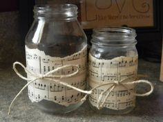 Use torn strips of sheet music to add interest to jars and bottles. Could tie twine around the center, or use other materials (burlap, strips of fabric, buttons.) to accent. Mason Jar Flowers, Mason Jar Candles, Mason Jar Crafts, Mason Jar Diy, Music Crafts, Wedding Pins, Bottles And Jars, Bridal Shower Decorations, Homemade Gifts