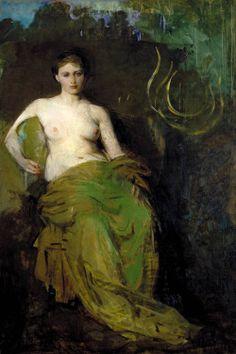 "centuriespast: "" Half Draped Figure Abbott Handerson Thayer (1885) Smithsonian American Art Museum (and the Renwick Gallery) - Washington DC Painting - oil on canvas """