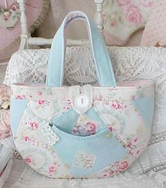 AQUA DENIM JEANS Patchwork Handbag Feminine Sweet Summer Purse