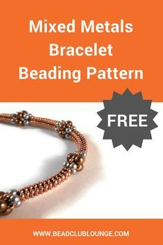 Create the delicate Mixed Metals Bracelet using a combination of seed beads and pearls. This free bracelet pattern teaches Tubular Herringbone Stitch. via @The Bead Club Lounge