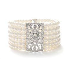 Mariell Ivory Pearl and Crystal Vintage Stretch Bracelet - Art Deco Glam - 6-Rows - One Size Fits Most *** For more information, visit image link.
