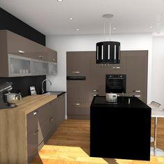 Meuble de cuisine taupe avec ilot de cuisine noir mat, plan de travail HOSTA décor chêne naturel, meubles hauts vitrés, hotte ilot central décorative noire, robinet col de cygne – www.oskab.com