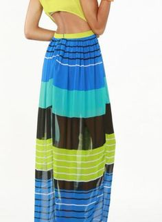 open back slit maxi dress with sheer striped skirt....beautiful!