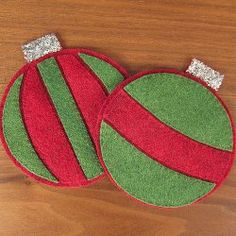 Felt Christmas Ornament Coasters - tutorial by Just Crafty Enough. Make your own coasters in the shape of felt Christmas ornaments.