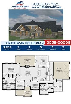 Get to know a unique Craftsman design, Plan 3558-00008 features 2,842 sq. ft., 3 bedrooms, 2 bathrooms, a covered porch, an office, snd a side entry garage. Go to our website for more information about this plan! #craftsmandesign #houseplans