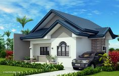 Obani Model is a one storey single attached with a total floor area of 64 square meters with an estimated rough finish budget of less than 800 thousand pesos. Simple Bungalow House Designs, Modern Bungalow House, Bungalow House Plans, Small House Design, Simple House, Modern House Design, Small House Floor Plans, My House Plans, Family House Plans