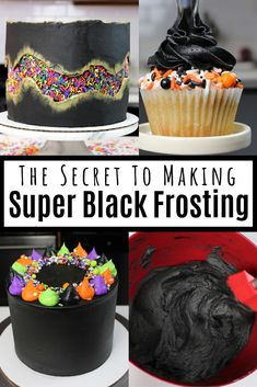 Black Buttercream Frosting Struggling to make black frosting that actually tastes good? Learn my secrets to make super black buttercream frosting! This recipe is delicious, and won't turn your teeth black! Black Frosting, Cake Icing, Frosting Recipes, Buttercream Frosting, Frosting Tips, Cupcake Recipes, Dessert Recipes, Halloween Desserts, Halloween Cakes