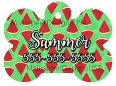 Monogram Personalized Dog Pet ID Tag Name Watermelon Summer Fun Colorful Pet Accessory Supply Dog Lover Gift 1 by MainStreetDesignsUSA on Etsy https://www.etsy.com/listing/479822032/monogram-personalized-dog-pet-id-tag