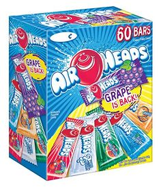 There are 60 Airheads bars in every box. These aren't your parent's Airheads! We've worked REALLY hard to make our bars softer and the flavors more intense. We know you'll fall in love with them all over again. All items are Peanut-free and inc