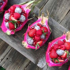 Dragon fruits raspberries Strawberries