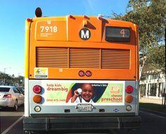 Los Angeles Universal Preschool logo design on a bus