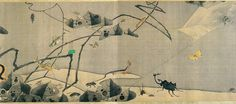 A detail from Ito Jakuchu's handscroll 'Compendium of Vegetables and Insects.' Japan. Eighteenth century. 1790.