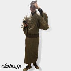 【着物コーディネート】 ヒッコリーデニム着物×ハット×スニーカー デニム着物にデニムシャツを合わせたコーディネート。ハットとコンバースのスニーカーで着慣れたラフな雰囲気のコーディネートに。