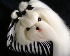 Maltese needle felted with real dog hair.