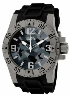 Invicta Men's 1098 Excursion Sport Camouflage Black Dial Black Polyurethane Watch Invicta. $165.00. Date function. Flame-fusion crystal; shot blasted stainless steel case; black polyurethane strap. Swiss quartz movement. Water-resistant to 200 m (660 feet). Black and gray camouflage dial with gray hands, hour markers and arabic numerals; luminous; white second hand; screw-down crown. Save 82% Off!