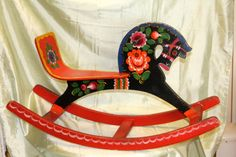 FREE SHIPPING - Vintage Wood Russian Rocking Horse - Handmade Hand Painted - Multicolored Wooden Large Child's Toy - Made in USSR