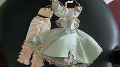 HALINA'S DOLL FASHION CHICAGO BARBIE Blue/Green Satin LACE Bo Peep Outfit LOT #HalinasDollFashionsChicago