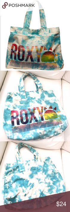 """🦄ROXY Mystic blue white tie-dye beach tote bag Perfect vibrant colored beach bag for spring and summer! This is a well-loved piece so it's a lil faded and the inside is not pure white anymore--more like off-white now. A little bit stained inside from suntan oil and makeup, but has plenty of life left on it though, and is ready for beach trips. Pockets on the front great for water and sunblock.  🌊Length 16-20"""" 🌊Width 14"""" 🌊Thickness 4"""" 🌊Strap drop 9"""" Roxy Bags Totes"""